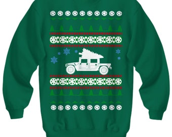 Hummer H1 overlanding offroad  Ugly Christmas Sweater Holiday military army Humvee