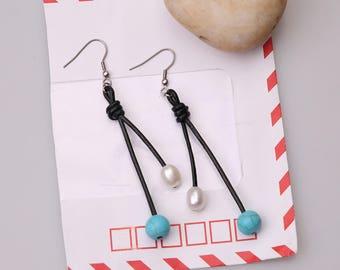 Freshwater Pearl Earrings,Women Pearl Earring on Black Leather,Handmade Steel Stones Dangle Earrings,Round Turquoise Blue Stones