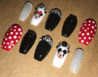 Glue Included | Minnie and Mickey Inspired Nails | Press On Nails | Glue On Nails | False Nails | Any Shape | False Nails