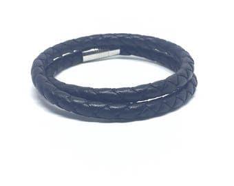 Double black leather braided bracelet.