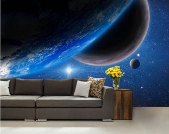 Galaxy wall mural, wall mural stars, nebula wall mural, STAR wall DECAL, space star wall mural, moon wall mural, planets wallpaper, planet