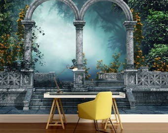 arch wallpaper, arch wall mural, arch wall decal, arch forest, arch gate, arch door, mystic arch, arch forest mystic wallpaper,