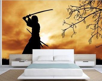 Japanese wallpaper, Samurai wallpaper, Japanese clothes, Chinese wallpaper, Japanese wall mural, pattern wallpaper, Samurai wall decal