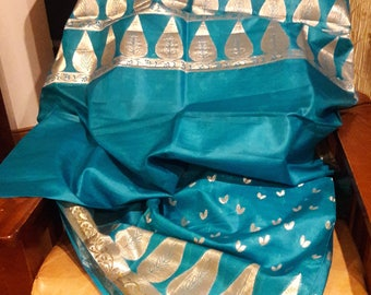 Handwoven pure Kosa/Tussar silk  Festive Saree with running blouse piece ; Free shipping in US