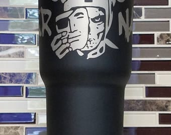 "Oakland Raiders ""Raider Nation"" Tumbler (powder coated 30 oz) - FREE SHIPPING"