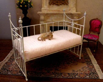 "Artisan Made Dollhouse Miniature Wrought Iron Look Daybed ""MADISON"" 1:12 Scale, Half Scale"