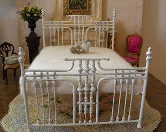 "NEW DESIGNS!  Artisan Made Dollhouse Miniature Wrought Iron Look Bed ""CADENCE"" 1:12 Scale Twin and Full"