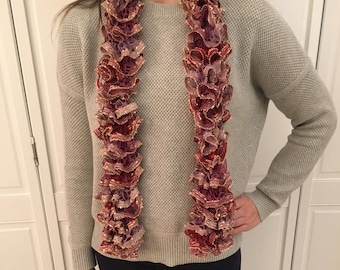 Red and Purple Ruffle Scarf