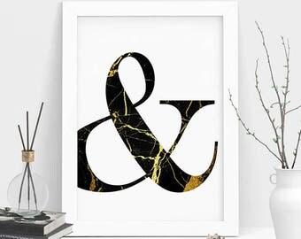 Ampersand Print, Ampersand Wall Print, Ampersand Wall Art, Printable Ampersand Sign , Sign Wall Print, Minimalist Print, Marble Wall Art