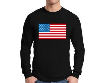 USA Flag Long Sleeve Shirts for Men USA T shirts Tees 4th of July American Patriotic shirt Fourth of July shirt