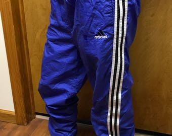 Vintage Adidas track pants medium unisex 90's Blue striped both sides Mint condition Unique colorway purple blue kappa Nike wilson sweatsuit