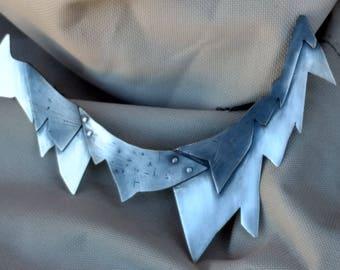 Industrial Necklace, Oxidized, Argentium Silver, Statement, Unique, tarnish resistant, non tarnish, textured, rivets