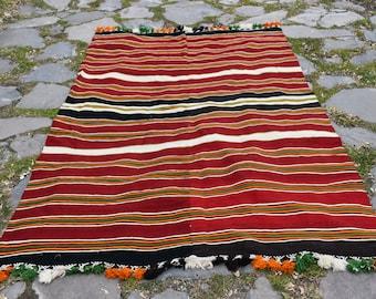 4.9 x 8.2 ft Free Shipping Striped Kilims Colorful Kilims Turkish Vintage Kilims Burgundy Kilims Decorative Kilims Home Decor Vintage H-795