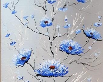 """Fleurs bleue 12"""" x 6"""" acrylique sur aluminium à l'état naturel / Blue flowers 12 in x 6 in acrylic on natural aluminum"""