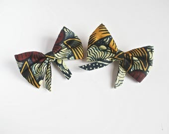 African Print Pigtail Bows (Set)