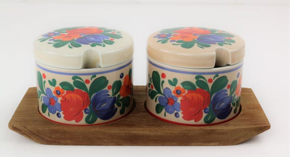 2 painted ceramic cups on teak tray Midcentury Modern design