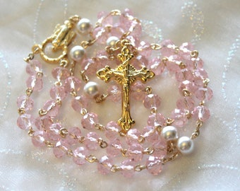 Pink Pearl and Gold Rosary