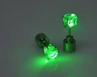 1 Rave Party LED Green Light Up Crystal Studded Earring