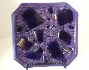 Purple Cobble Hand crafted glass plate with irridescent chunks
