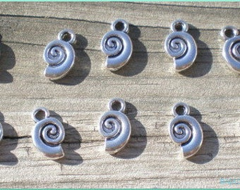 Silver Snail Loops, Set of 10, Curly Q Loops, Charm Findings