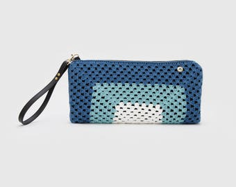 Handmade crochet clutch. Blue and white. Limited Edition