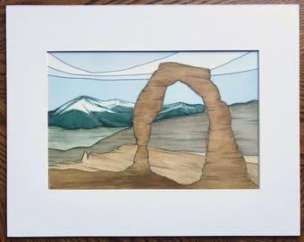 Arches print, Delicate Arch, Watercolor print, Abstract watercolor, Abstract landscape, Arches National Park, Utah