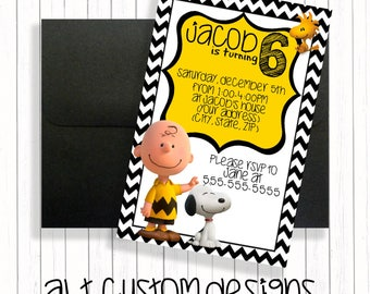 Charlie brown invitation - printable - charlie brown birthday invitation - charlie brown birthday