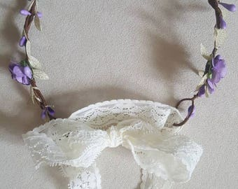 Purple and gold flower crown / flower crown / mommy and me / baby headband / wedding