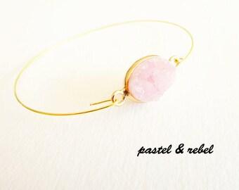 Rosé cristal quartz drusy gold plated bracelet