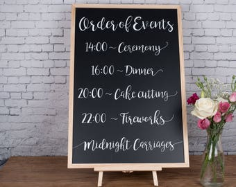 Order of Events - Personalised Wedding Chalkboard