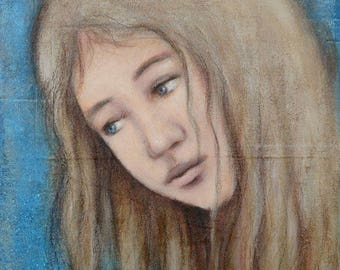 "Painting ""Dream VIII"" 24 x 30 cm portrait girl"