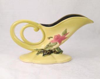 Hull Green Woodland Cornucopia Vase, W-10, 11 inch