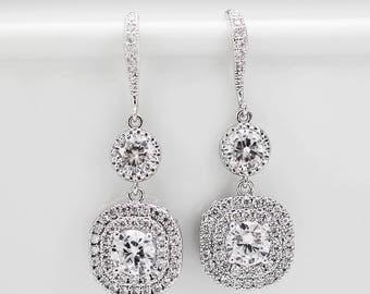Bridal Earrings Wedding  Earrings Bridesmaid Earrings Silver Earrings Dangle Earrings Hoop Earrings Teardrop Earrings Gift for her Clear