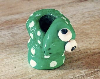 Pen holder Green Snake shaped and hand painted