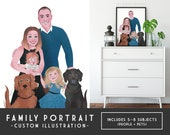 Create a LARGE Family Portrait - Includes 5–8 Subjects - DIY Digital Printable, Custom Anniversary Portrait, Family Room Art