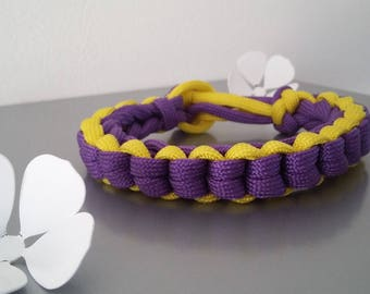 Bracelet in shades of purple/yellow (braided chain) Paracord