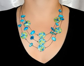 Green and blue MULTISTRAND necklace