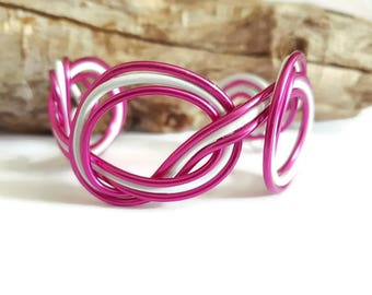 Bracelet 3 aluminium fuchsia and white bow