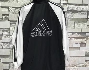 Vintage Adidas track Jacket Big Logo size Large / adidas sweater / adidas hoodie / adidas sweatshirt / Adidas Trainer Jacket