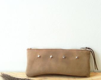 Taupe nubuck leather purse make up bag pencil case