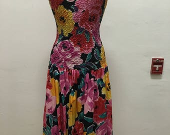 1980's vintage flower print dropped waist sun dress