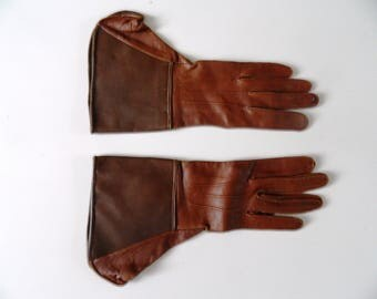 Vintage Antique Brown Leather Ladies Vintage Driving Gloves Size Small