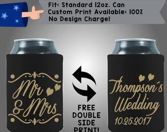 Mr & Mrs! Last Name Wedding Date Collapsible Fabric Wedding Cooler Double Side Print (W351) 100% Custom