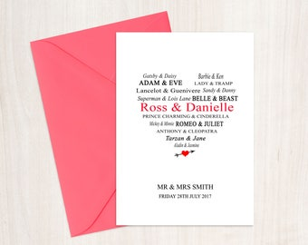 Personalised Love Couples Wedding, Engagement, Anniversary Card