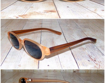 Vintage 90s deadstock slim wayfarer sunglasses transparent matt brown (SG14)