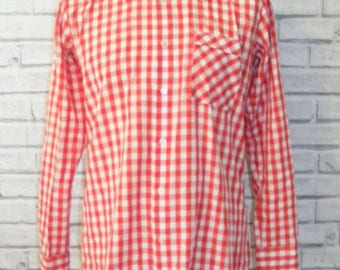 """Size M 41"""" vintage 70s long sleeve dagger collar shirt red gingham check (IA68)"""