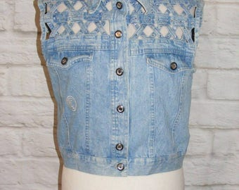 Size 12 vintage 90s gilet jacket weave/diamante detail light blue denim (HI26)