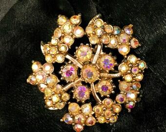 A Beautiful Vintage Brooch - Aurora Borealis Crystals