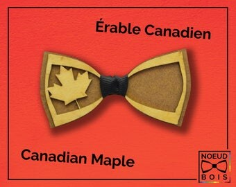 Wooden bow tie Canadian Maple pattern, cherry wood, laser engraved, customizable, canada, color, emblem, Québec, maple, moose