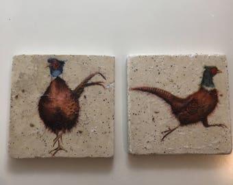 Set of pheasant coasters